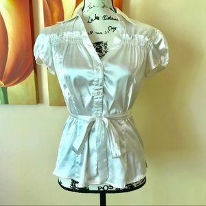 Body Central Satin Tie-Front Blouse